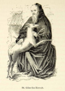 This is reproduced from an original 1872 black and white relief line-block print of Saint Giles, the Hermit whose only companion was a red deer.